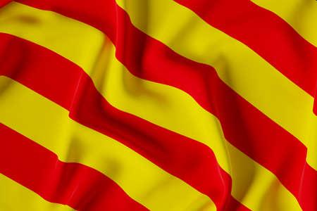 Official flag of Catalunya. Close up shot. Illustration 3d.