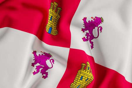 Castilla y Leon official flag.3D render illustration