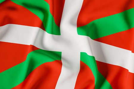 Basque Country Ikurrinya official flag.3D render illustration