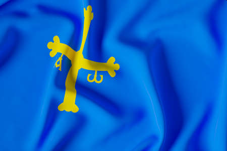 official flag of the Principality of Asturias.3D render illustration