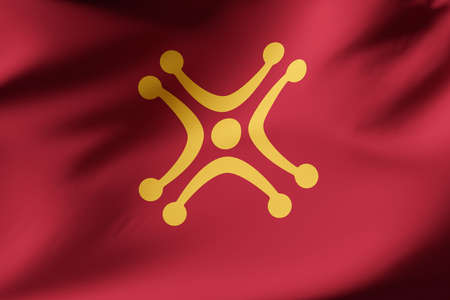 Coofficial flag of Cantabria. Labaro flag. Secon flag.Close up shot. Illustration 3d. Foto de archivo
