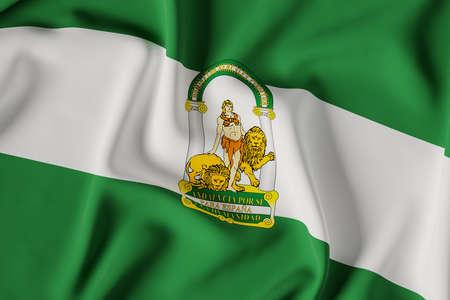 Andalusia official flag.3D render illustration Foto de archivo