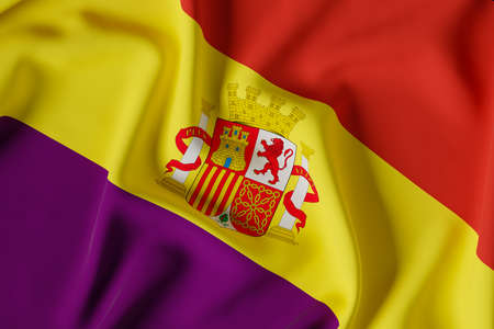 official flag of the second Spanish republic. Version with shield.3D render illustration Foto de archivo