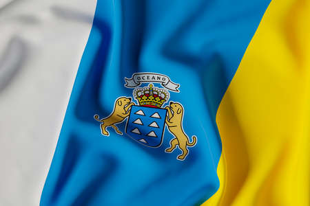 Canary Islands official flag.3D render illustration Foto de archivo