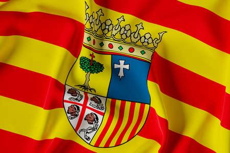 Aragon official flag.3D render illustration Foto de archivo