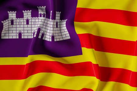 Balearic Island official flag.3D render illustration