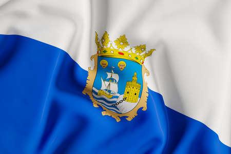 Santander city council official flag.3D render illustration Foto de archivo