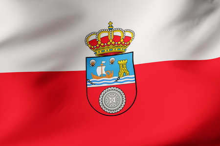 Official flag of Cantabria. Close up shot. Illustration 3d.