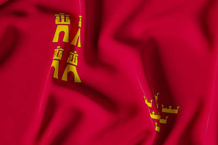 Murcia official flag.3D render illustration