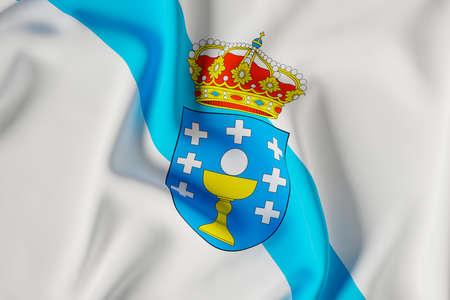 Galicia official flag.3D render illustration