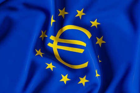 Flag with the euro symbol and the stars of the european union. 3D render illustration Foto de archivo
