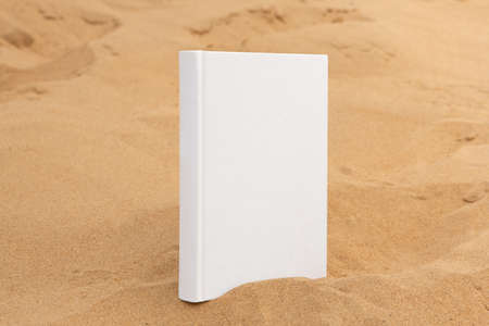 book with blank cover and empty cover perched on sandstone rock Foto de archivo