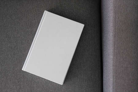Book with blank cover and empty cover on a gray sofa