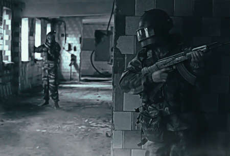 military guys in old house art shooting