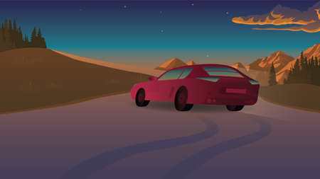 red car rides on the road
