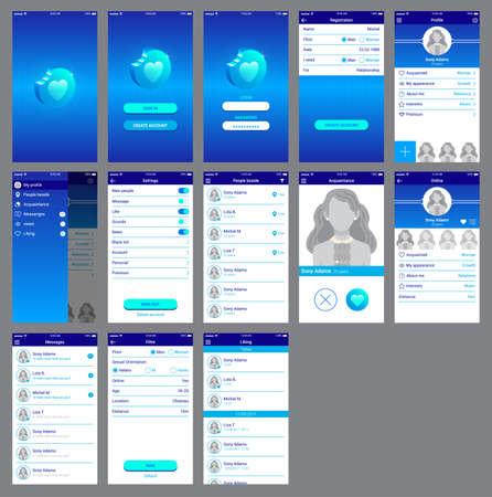 love app ui design mobile Ilustración de vector