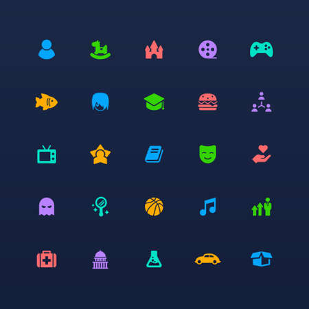 category icons ui design app vector Isolated image