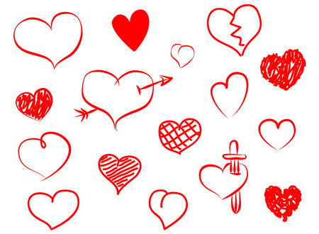 sketched arrows: Hand drawn hearts set. Doodle heart icons made with pen.