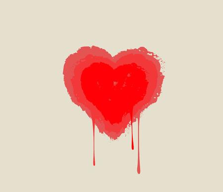 Corazón sangrando. De fusión del corazón en gotas. Símbolo del amor