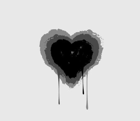 vulnerable: Black bleeding heart. Heart melting in drops. Love symbol