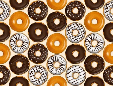 ドーナツのシームレスなパターン。ドーナツ パターン ベクトル。