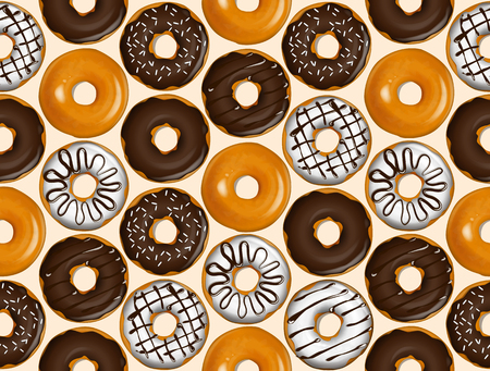 Seamless pattern of donuts. Donut pattern vector.