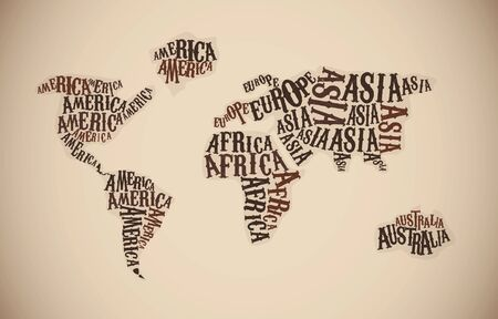World Map in Typography. Continent words