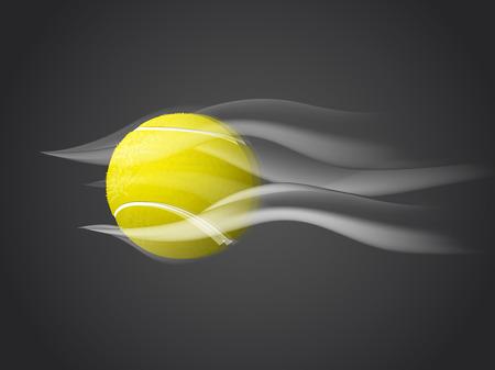 wimbledon: Fast movingTennis Ball isolated on dark background.