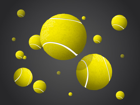MovingTennis Balls flying, falling isolated on dark background. Stock Illustratie