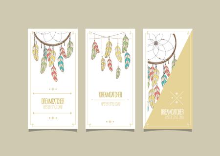 native culture: Dream catcher hipster set of cards. Vector illustration. Illustration