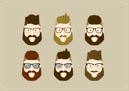 Hipster style bearded man, character set collection.