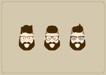 bearded man: Hipster style bearded man, character set collection.