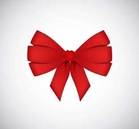 beauty birthday: Red vector gift bow and ribbon isolated.