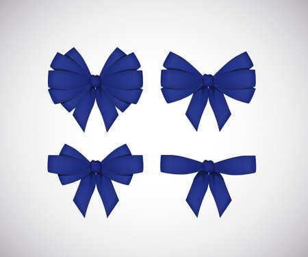white bow: Set of blue bows isolated on white