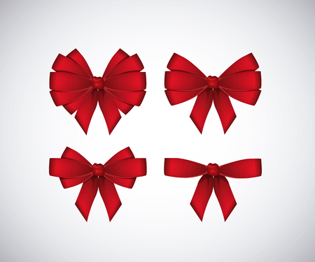 Set of red bows isolated on white