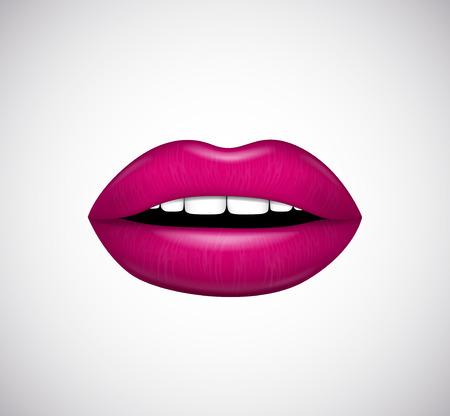 female sex: Hot pink lips. Vector illustration.
