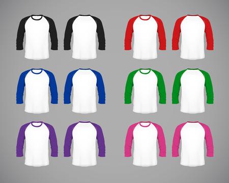 Mens slim-fitting long sleeve baseball shirt set. Multicolor Mock-up design template for branding.