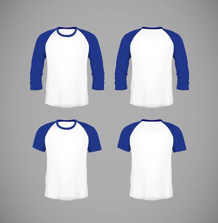 Mens slim-fitting short sleeve baseball shirt set. Blue Mock-up design template for branding.