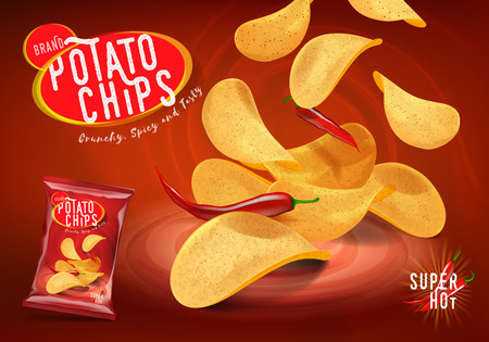 Spicy chilli potato chips advertisement, chips with chillies flavor in 3d illustration.