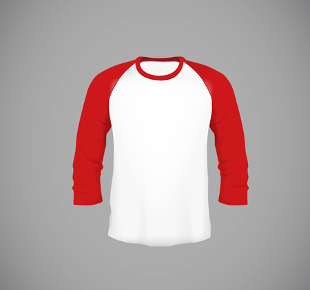 Mens slim-fitting long sleeve baseball shirt. Red Mock-up design template for branding.