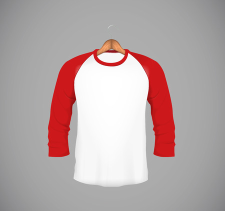 Men's slim-fitting long sleeve baseball shirt with wood hanger. Red Mock-up design template for branding.  イラスト・ベクター素材
