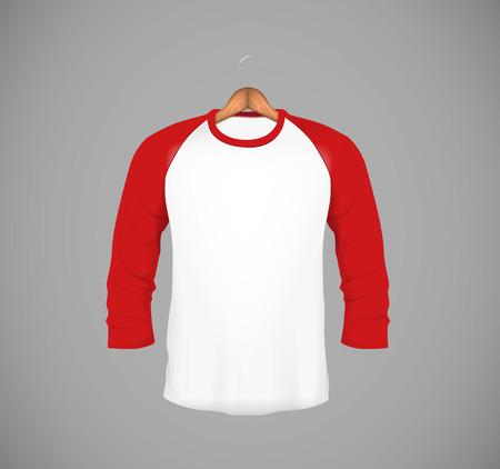 Men's slim-fitting long sleeve baseball shirt with wood hanger. Red Mock-up design template for branding. Illustration