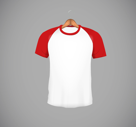Men's slim-fitting short sleeve baseball shirt with wood hanger. Red Mock-up design template for branding.
