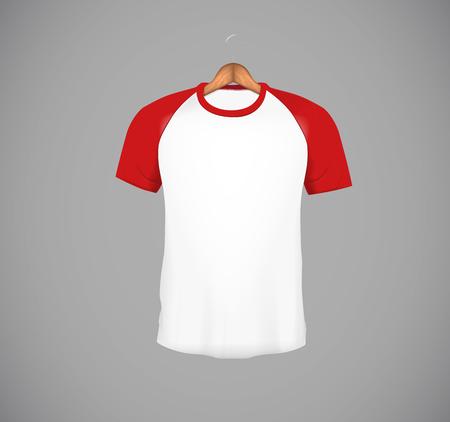 Men's slim-fitting short sleeve baseball shirt with wood hanger. Red Mock-up design template for branding.