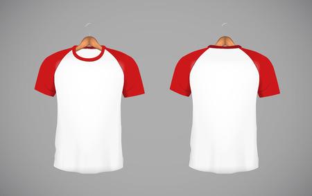 Mens slim-fitting short sleeve baseball shirt with wood hanger. Red Mock-up design template for branding.