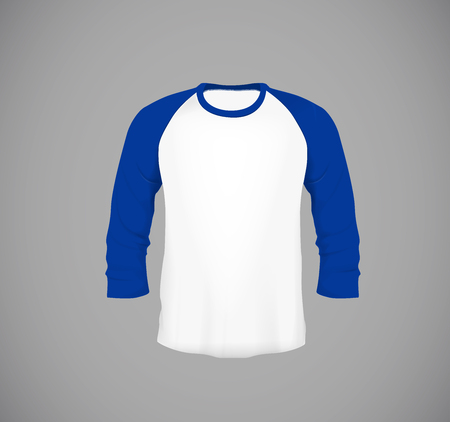 Men's slim-fitting long sleeve baseball shirt. Blue Mock-up design template for branding. Foto de archivo - 114861568