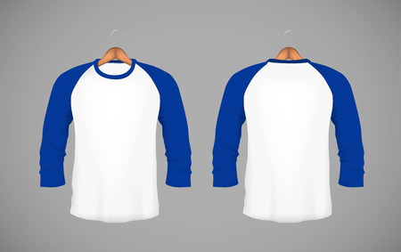 Mens slim-fitting long sleeve baseball shirt with wood hanger. Blue Mock-up design template for branding.