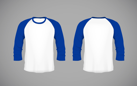Men's slim-fitting long sleeve baseball shirt. Blue Mock-up design template for branding.