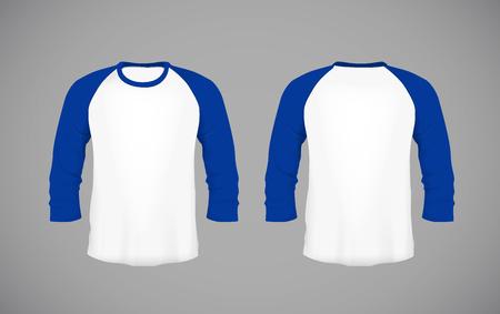 Men's slim-fitting long sleeve baseball shirt. Blue Mock-up design template for branding.