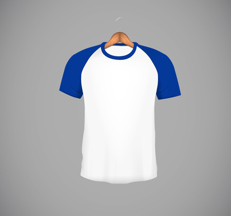 Men's slim-fitting short sleeve baseball shirt with wood hanger. Blue Mock-up design template for branding.